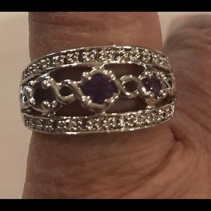 Lia Sophia silver and amethyst ring